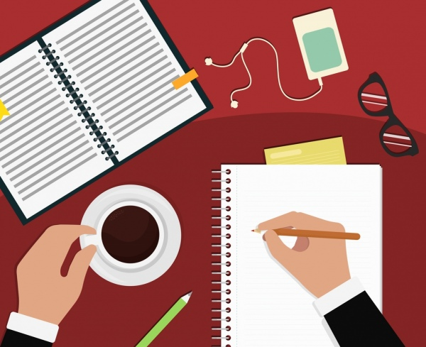 workplace background notebook writing hands coffee eyeglasses icons
