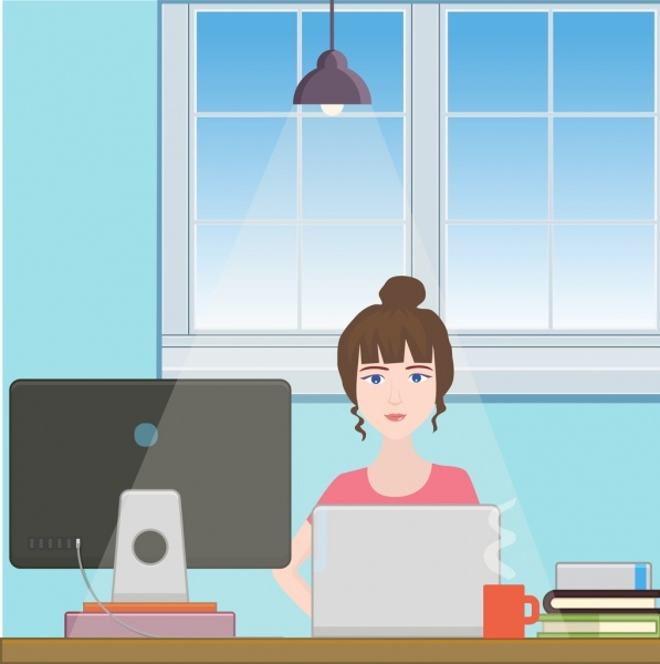 workspace design female icon office utensils decoration