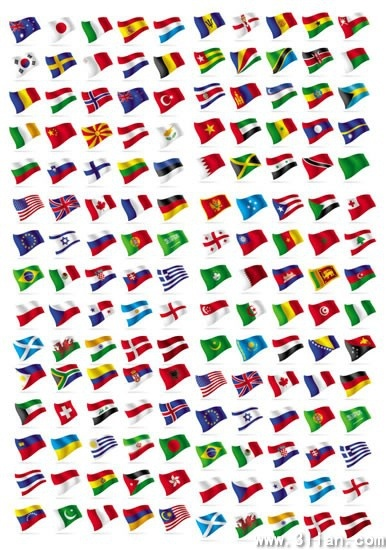 nations flags collection colorful modern waving design