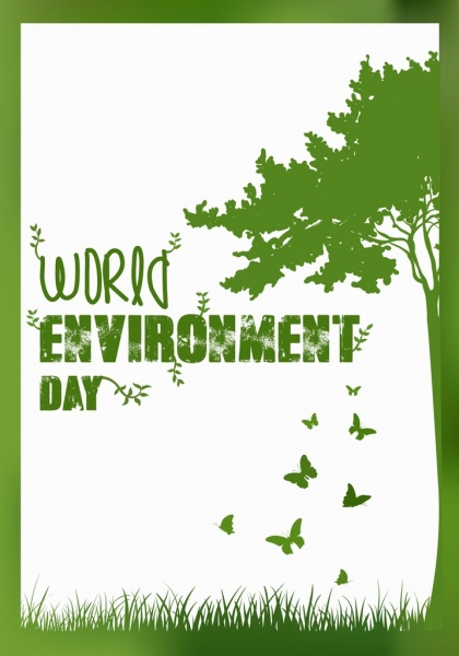 world day banner green design tree butterflies icons