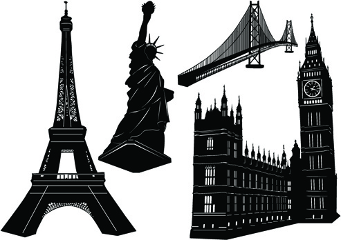 world famous buildings vector silhouettes