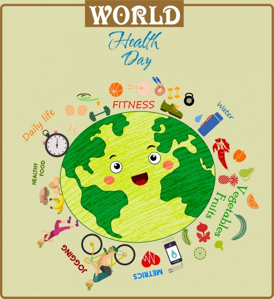 world health day banner earth lifestyle food icons
