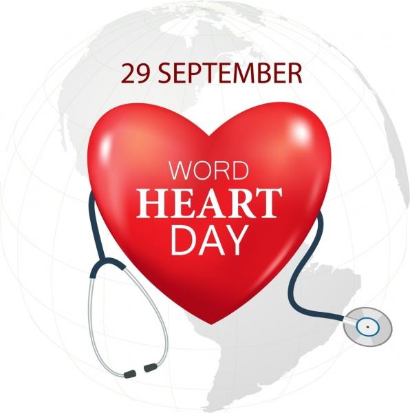 world heart banner medical tool icon earth vignette