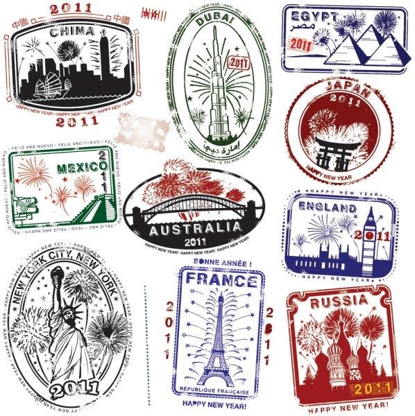 world landmarks seal 04 vector