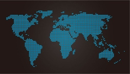 world map design blue dots decoration dark style