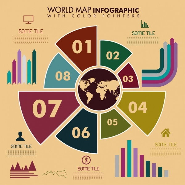 world map infographic template charts icons ornament