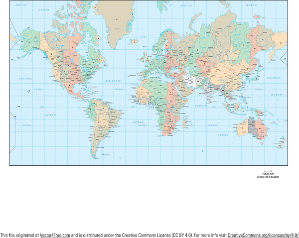 World Map Time Zones Vector Free Vector 2.69MB