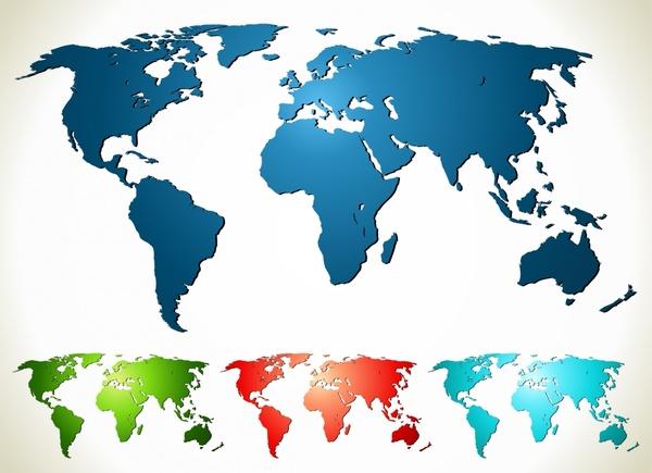 world map icons modern shiny colored flat design