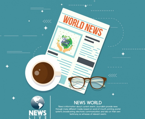 world news advertising newspaper coffee cup glass icons