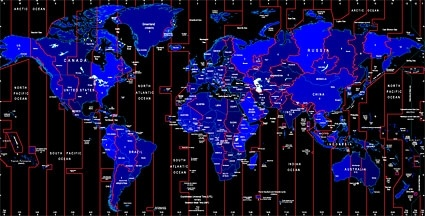 World Time Zone Map Identifies The Vector Free Vector In