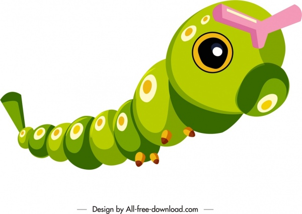 worm icon 3d colorful cartoon character sketch