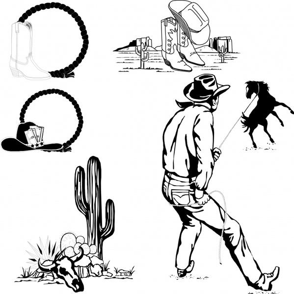 cowboy design elements black white classical icons