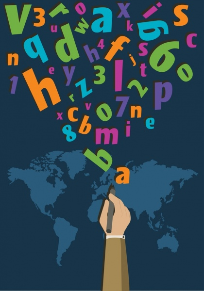 writing background colorful alphabets hand map icons