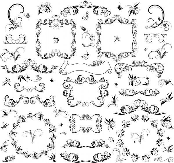 document design elements classical symmetrical seamless sketch