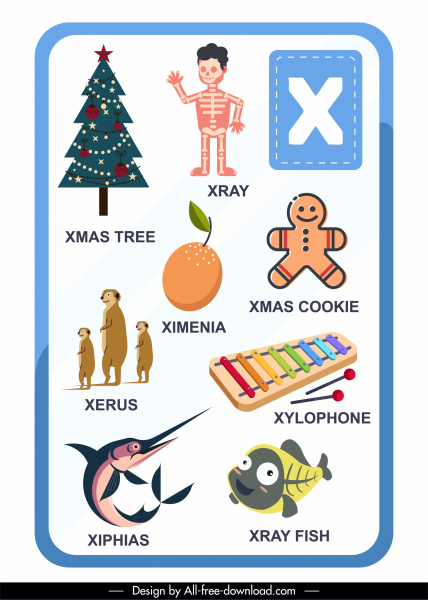 x alphabet education template colored flat symbols sketch