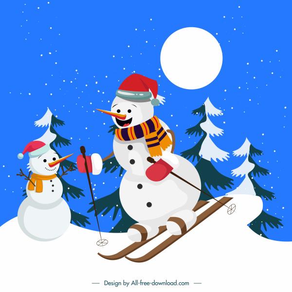 xmas background cartoon stylized skiing snowman sketch