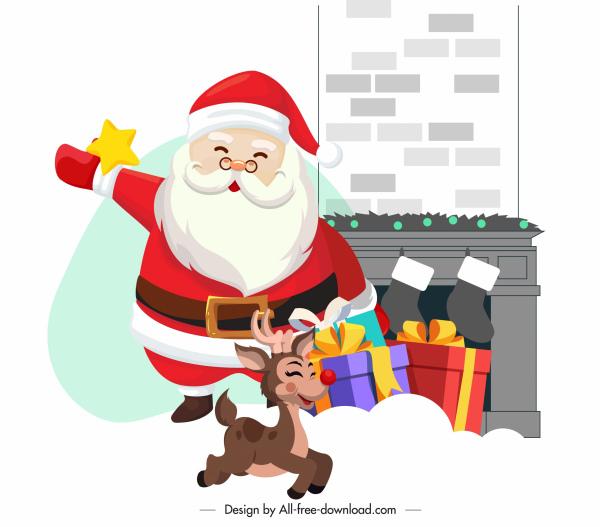 xmas background cute santa claus reindeer sketch