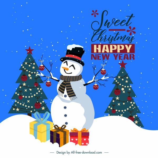 xmas banner template fir trees snowman gift decor