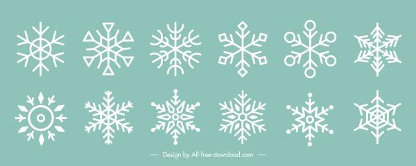 xmas decorative elements snowflakes shapes sketch flat symmetry