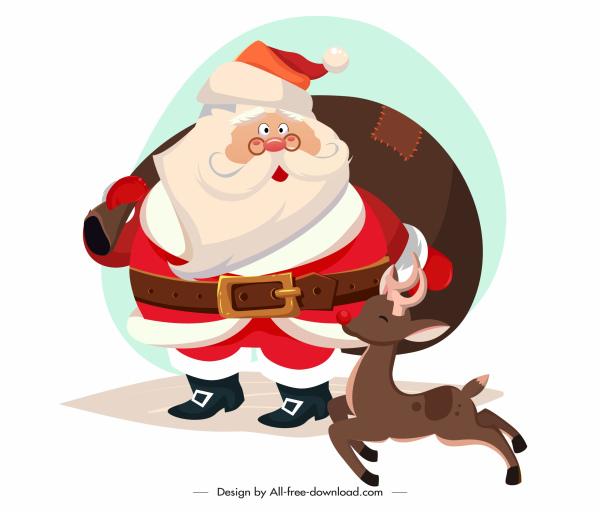 xmas design element santa reindeer sketch cartoon characters