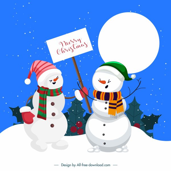 xmas postcard background cute stylized snowman sketch