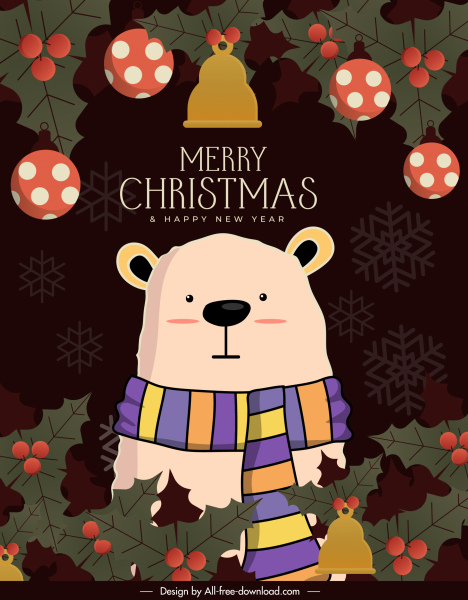 xmas poster template cute bear classic cartoon sketch