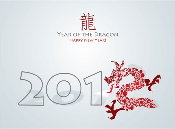 year of the dragon cards 03 vector