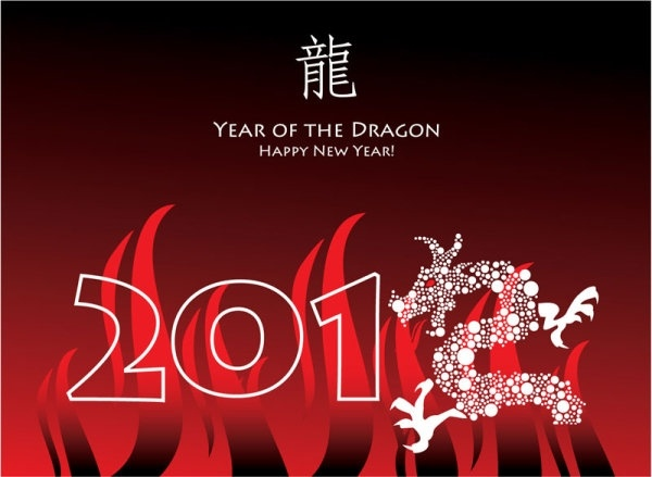 year of the dragon cards 04 vector