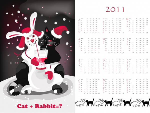 2011 calendar template cute rabbit cat icons decor