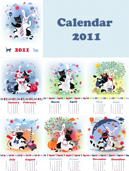 2011 calendar templates cute stylized animals icons decor