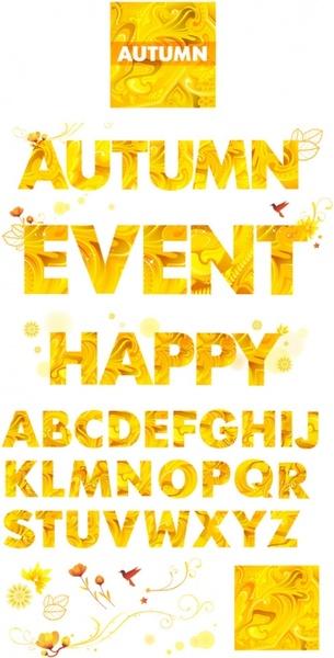 yellow autumn clip art letters