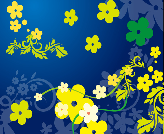Yellow flowers in blue background free vector in adobe illustrator yellow flowers in blue background mightylinksfo