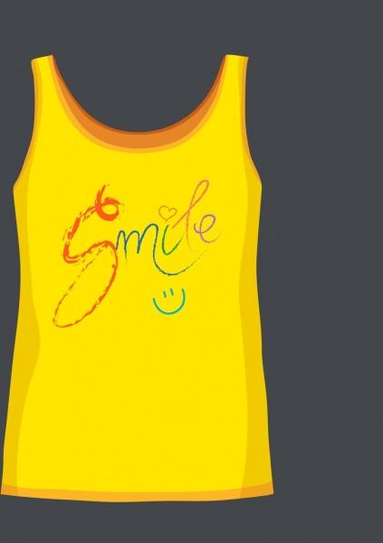 Yellow Short Tshirt Template Smile Icon Text Decor