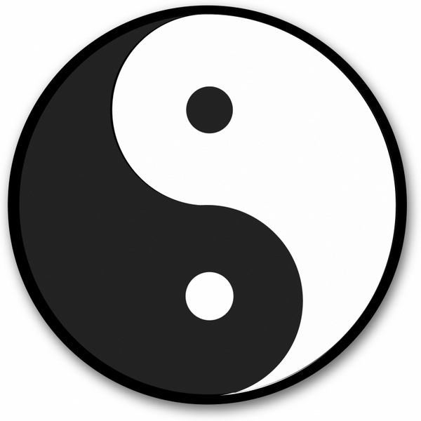 Yin Yang Symbol Black Round Sticker Free Vector In Adobe Illustrator
