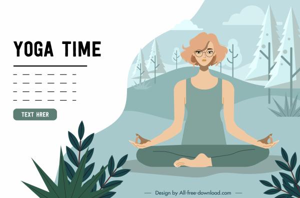 fbb73095 Yoga advertising banner zen woman icon cartoon sketch Free vector 2.03MB