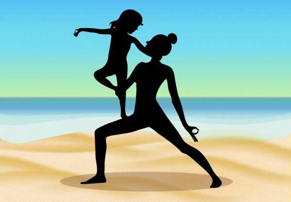 Yoga Background Mother Daughter Icons Silhouette Decor Free Vector In Adobe Illustrator Ai Ai Format Encapsulated Postscript Eps Eps Format Format For Free Download 5 05mb