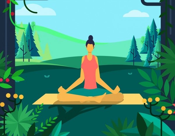 Yoga Background Relaxed Woman Nature Scene Cartoon Design Free Vector In Adobe Illustrator Ai Ai Format Encapsulated Postscript Eps Eps Format Format For Free Download 2 43mb