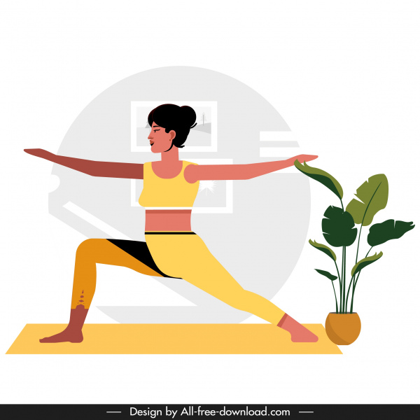 Yoga Background Woman Doing Exercise Sketch Cartoon Character Free Vector In Adobe Illustrator Ai Ai Format Encapsulated Postscript Eps Eps Format Format For Free Download 754 88kb