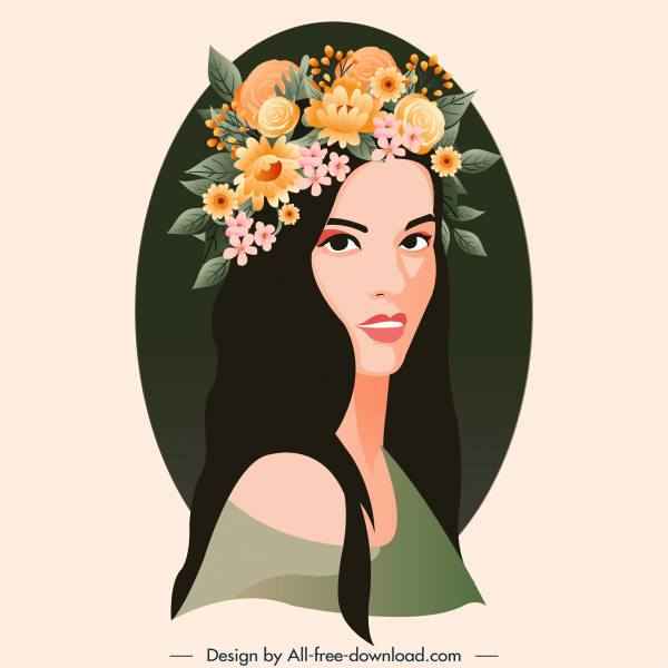 young lady painting colorful flower hairstyle sketch