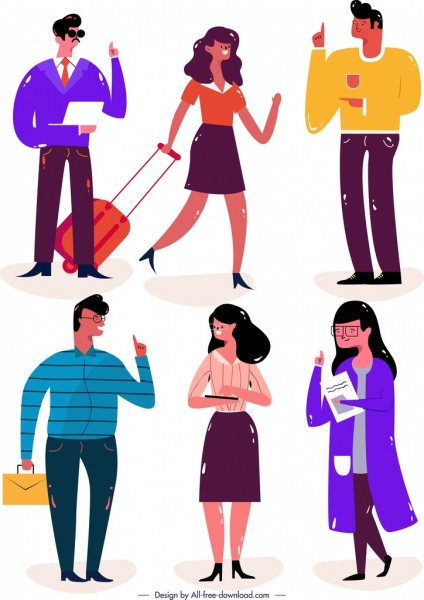 young people icons colored classical design cartoon characters