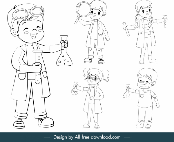 young scientist icons cute joyful kids cartoon characters