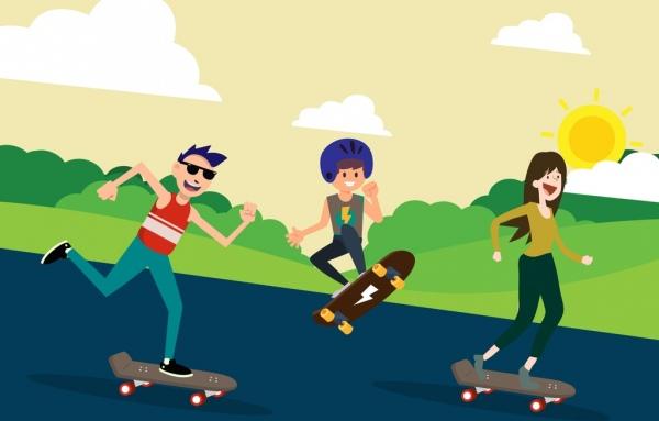 youth life drawing skateboard human icons colored cartoon