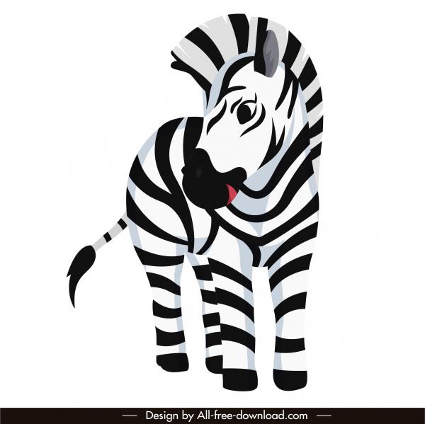 zebra animal icon colored cartoon sketch