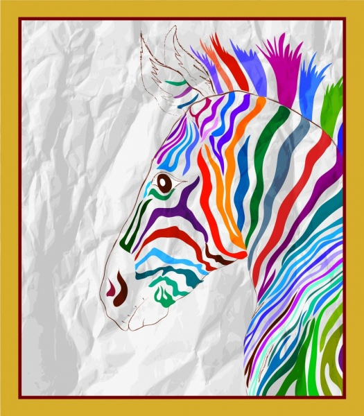 zebra drawing colorful handdrawn sketch