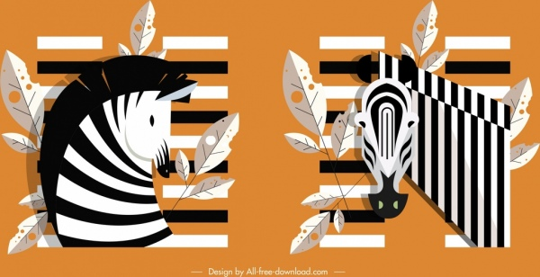 zebra icons black white classical sketch