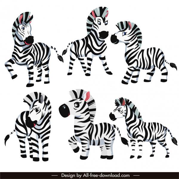 zebra species icons cute cartoon sketch