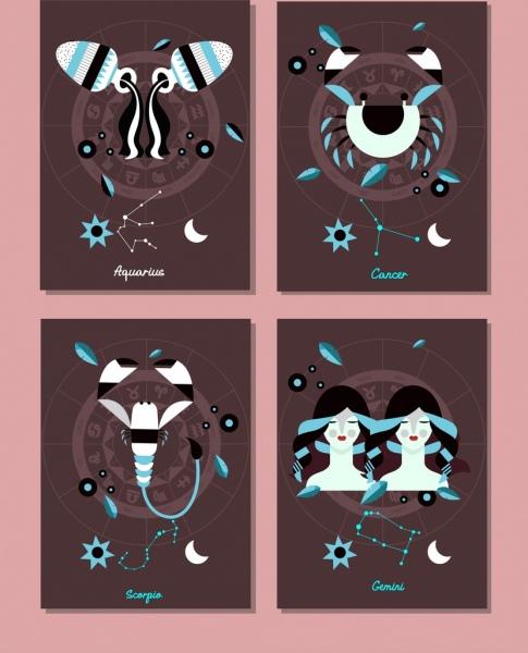 zodiac background sets aquarius cancer scorpio gemini icons