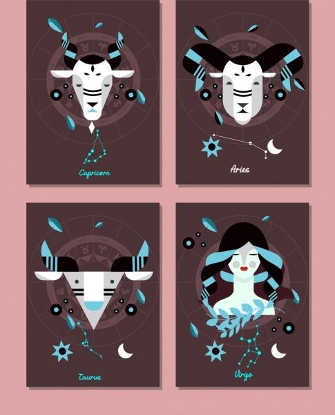 zodiac background sets capricorn aries taurus virgo icons