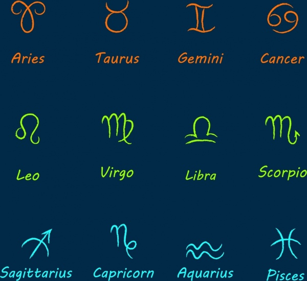 zodiac signs collection colored hand drawn design