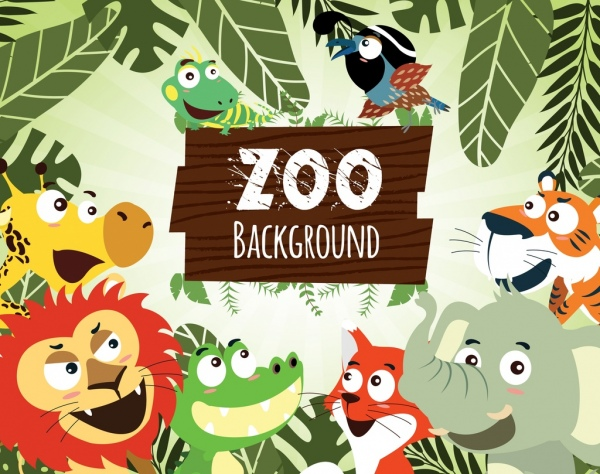 zoo advertising cute animals icons cartoon design